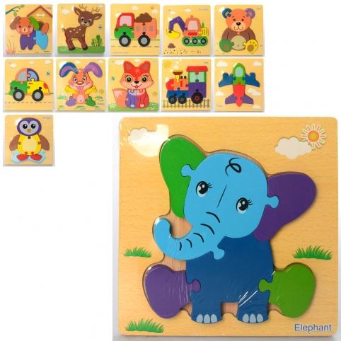 Деревянная игрушка Пазлы MD 2453 (100шт) 12видов(транспорт, животгые), в кульке, 15-15-1,5см рис. 1