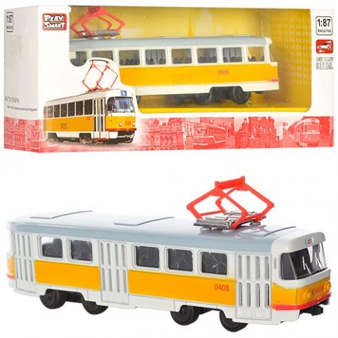 Трамвай 6411B (96шт) металл, инер-й, 1:54, 16,5см, в кор-ке,19,5-5-7,5см рис. 1