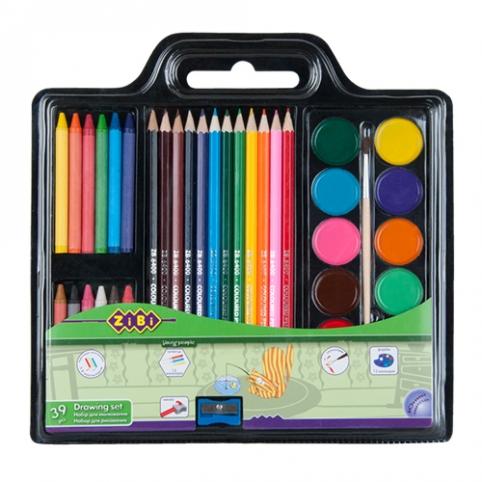 Набор для рисования (краски, цв.карандаши, мел восковый, кисть натуральная, чинка) рис. 1
