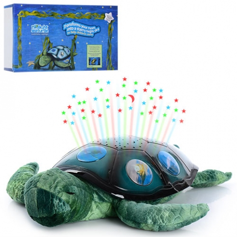 Ночник YJ 3 (20шт) черепаха(плюш+пласт),35см,проект ночн неба,3 реж, на бат-ке, в кор-ке, 35-21-11см рис. 1
