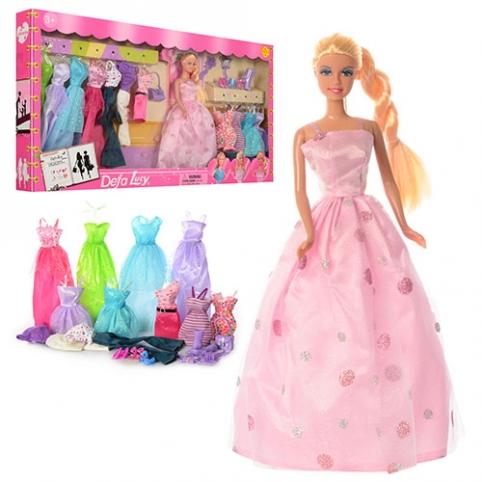 Кукла DEFA 8193 (12шт) 29см, наряды 11шт, обувь, аксессуары, в кор-ке, 66,5-35-6см рис. 1