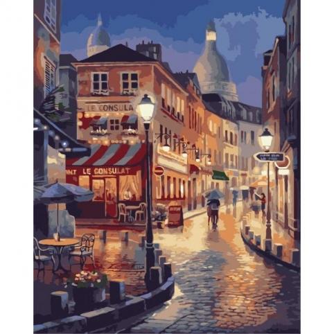 Картина по номерам - Прогулка по вечернему Парижу (КНО2116)