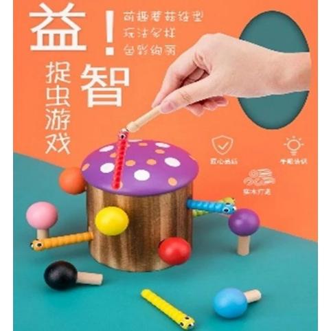 Деревянная игрушка магнитные червячки, грибочки WD2726