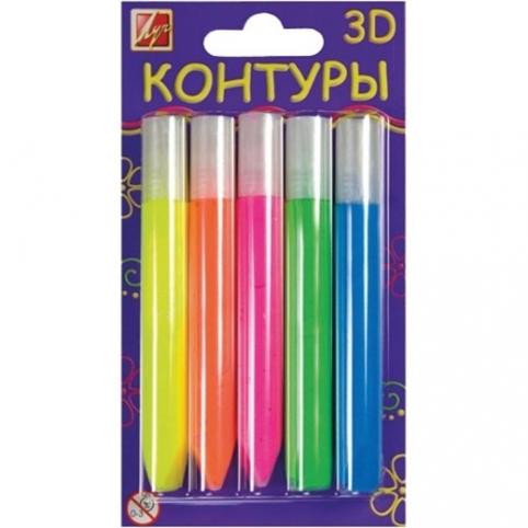 Набор контуров  3D флуоресцентные, 5 цветов 10 мл