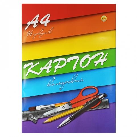 Набір картону кольорового А4 14 аркушів Тетрада Ш-2453