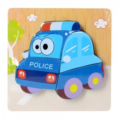 Дерев'яна іграшка Пазл 15X15-5 поліцейська машина