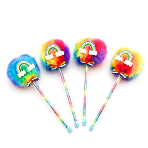 Ручка шариковая помпон радуга 018-2