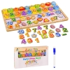 Деревянная игрушка WD2720 (32шт) обучающая доска 3в1,  сортер, цифры, формы, поле для письма, в кор. рис. 1