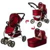 Коляска 9662M (3шт) для куклы,жел,прогулочная/классика,двойн.колеса,поворот,корзине,кор-ке, рис. 1
