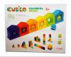 Деревянный конструктор Cubika Цветные домики 34х26х4 см рис. 1