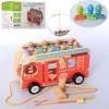Деревянная Эко игрушка Развивающий центр Автобус - каталка - Стучалка MD 2835