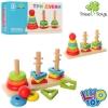 Деревянная игрушка Пирамидка-ключ MD 1321 (30шт) 3шт, 22см, кольца5шт, 2вида, в кор-ке,23-12,5-7,5см рис. 1