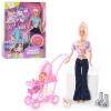 Кукла DEFA 20958 (24шт) с дочкой, собачка, щенки 2шт,коляска,аксессуары,3 вида, кор-ке,34-25,5-6,5см рис. 1