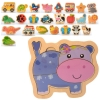 Деревянная игрушка Пазлы MD 2283 (100шт) микс вид(транспорт,животн,овощи),в кульке,от14,5-13,5-1,5см рис. 1