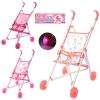 Коляска M 0350 U/R (24шт) жел, трость, колеса светящиеся, 3 цвета, в кульке, 53-49-27см рис. 1