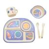 """Посуда детская бамбук """"Ракета"""" 5пр/наб (2тарелки, вилка, ложка, чашка) MH-2773-7 (12наб) рис. 1"""