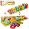Деревянная игрушка Геометрика MD 2025 (36шт) геом.фигуры,табл.сложения, в кор-ке, 35-11,5-8см рис. 1