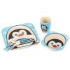 """Посуда детская бамбук """"Пингвин"""" 5пр/наб (2тарелки, вилка, ложка, стакан) MH-2770-14 (12шт) рис. 1"""