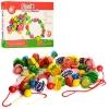 Деревянная игрушка Шнуровка MD 1009 (48шт) фрукты, овощи, ягоды, в кор-ке, 28-21-3,5см рис. 1