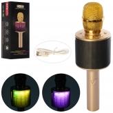 Микрофон D-03-gold (40шт) 26см, аккум,свет, Bluetooth,TFслот,USBзар,золотой,в кор,29,5-10,5-9см рис. 1