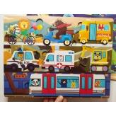 Деревянная игрушка Пазлы MD 2561 Транспорт, 30-22,5-1см рис. 1